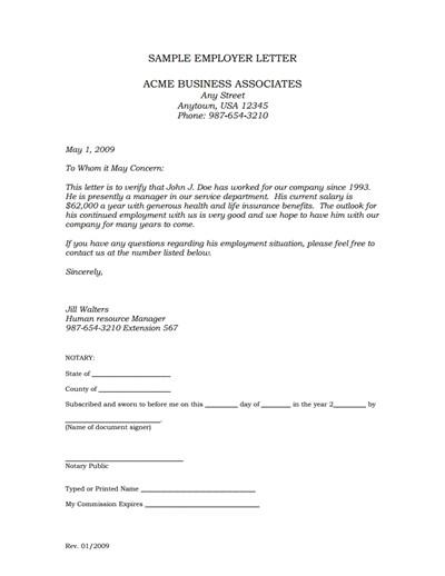 Employee Verification Letter Template Employment Verification Letter Template Edit Fill,create