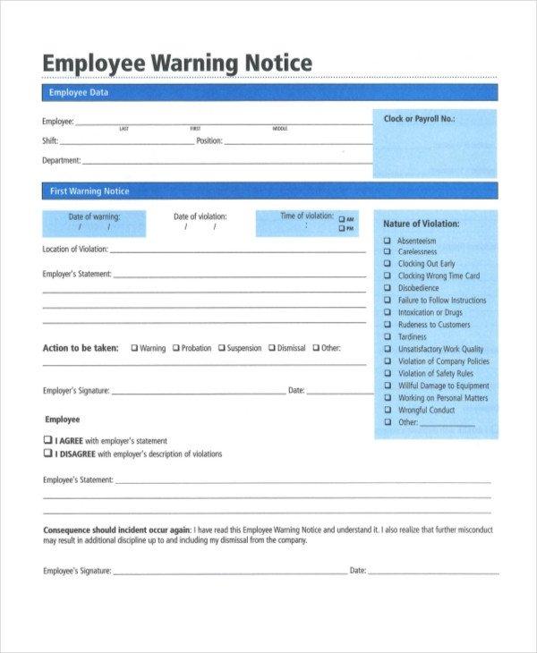 Employee Warning Notice form 12 Printable Employee Warning Notice Templates Google