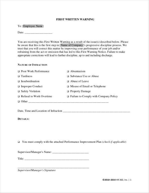 Employee Warning Notice form 13 Employee Warning Notice Samples & Templates Docs