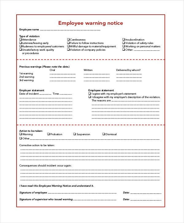 Employee Warning Notice form 6 Sample Employee Warning Notice forms