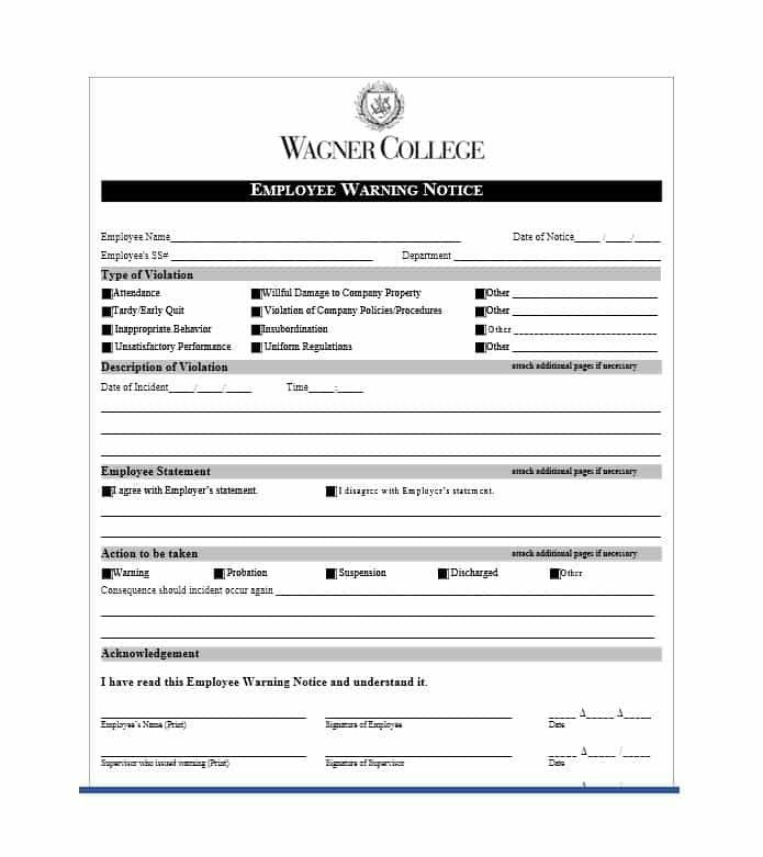 Employee Warning Notice form Employee Warning Notice Download 56 Free Templates & forms