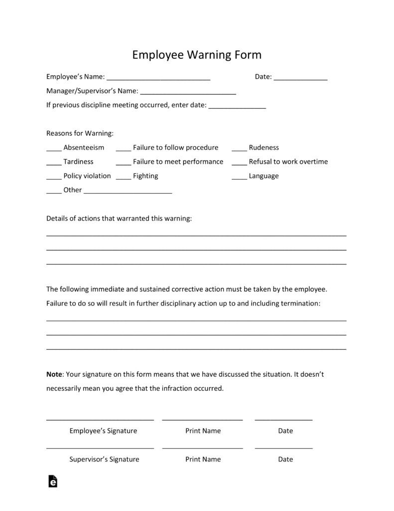 Employee Warning Notice form Free Employee Warning Notice Template Pdf