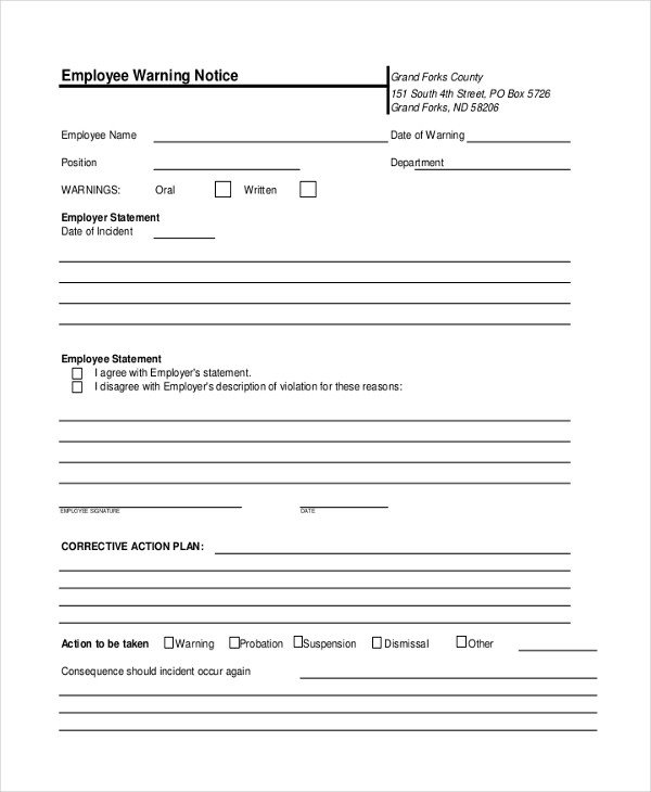 Employee Warning Notice form Sample Employee Warning Notice 8 Sample Documents In