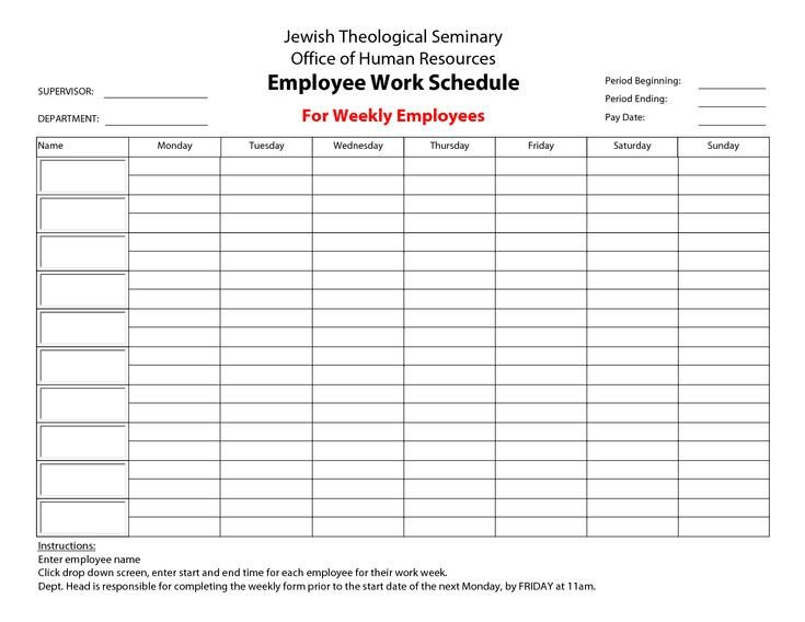 Employee Work Schedule Template 20 Hour Work Week Template