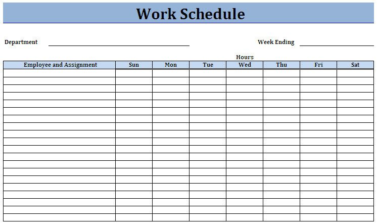 Employee Work Schedule Template 5 Work Schedule Templates Excel Xlts