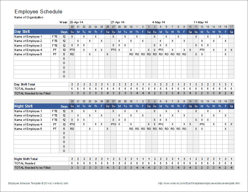 Employee Work Schedule Template Employee Schedule Template