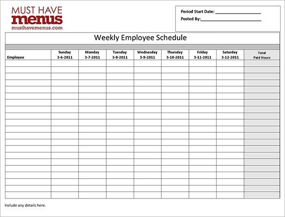 Employee Work Schedule Template Employee Work Schedule Template 17 Free Word Excel