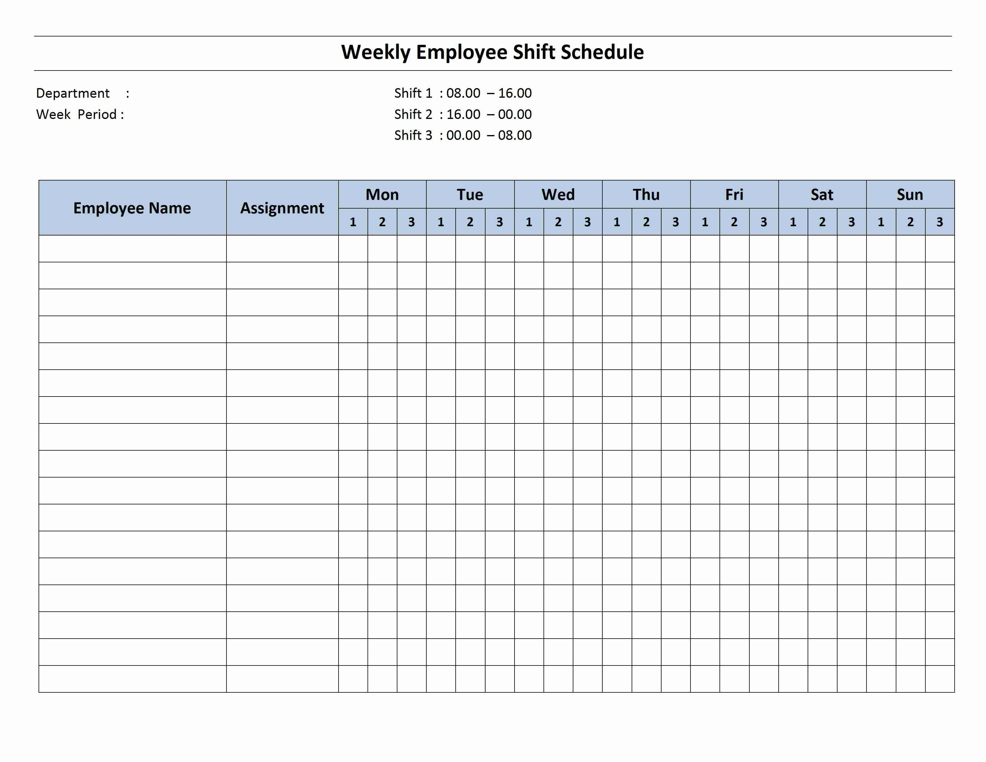 Employee Work Schedule Template Free Monthly Work Schedule Template