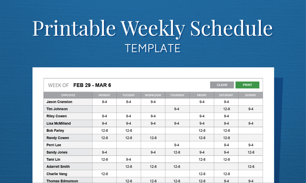 Employee Work Schedule Template Free Printable Weekly Work Schedule Template for Employee