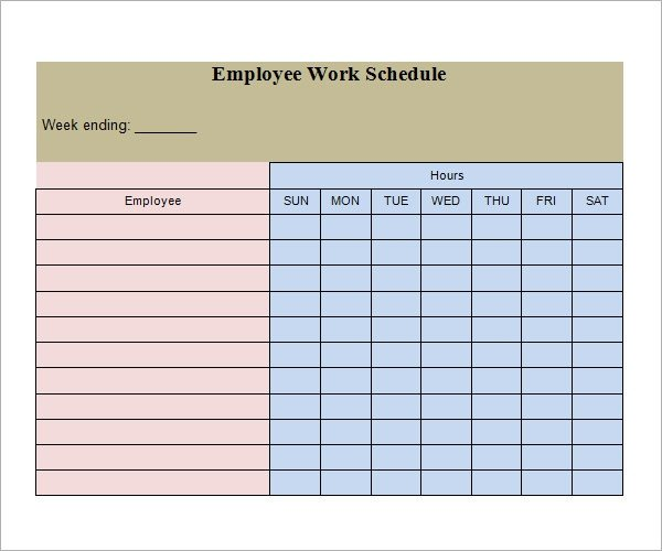 Employee Work Schedule Template Work Schedule Template 26 Download Free Documents In