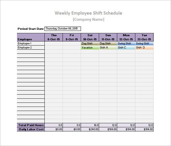 Employee Work Schedule Template Work Schedule Templates – 9 Free Word Excel Pdf format