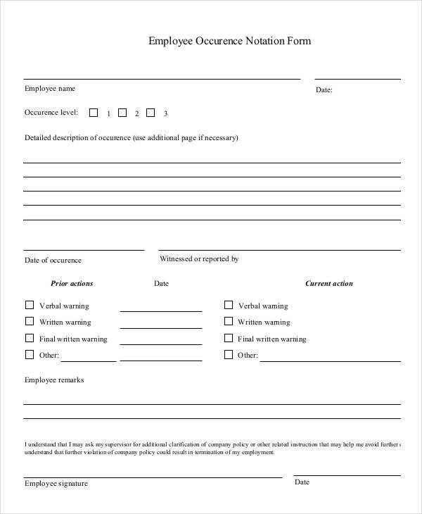 Employee Write Up form Template Employee Write Up form 6 Free Word Pdf Documents