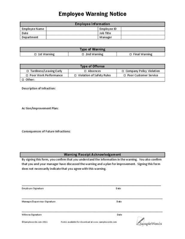 Employee Write Up form Template Free Employee Write Up form Printable Excel Template