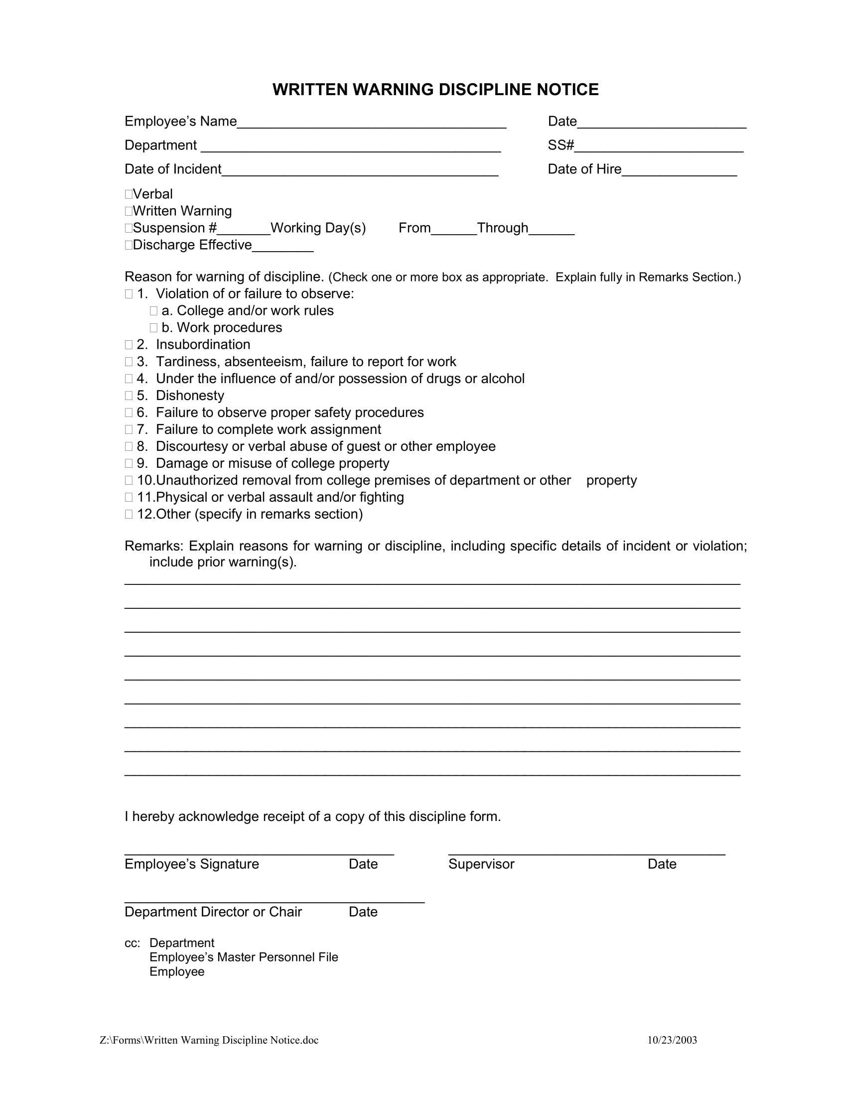 Employee Write Up Templates 11 Employee Warning Letter Examples Pdf Google Docs