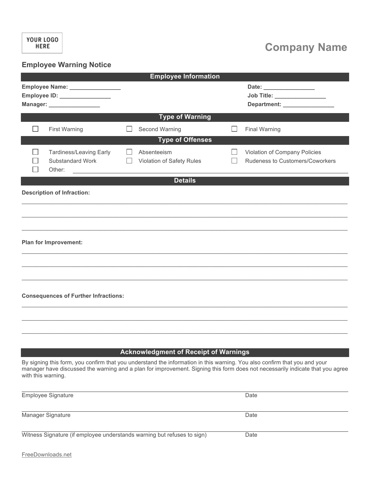 Employee Write Up Templates Download Employee Write Up form Pdf Rtf