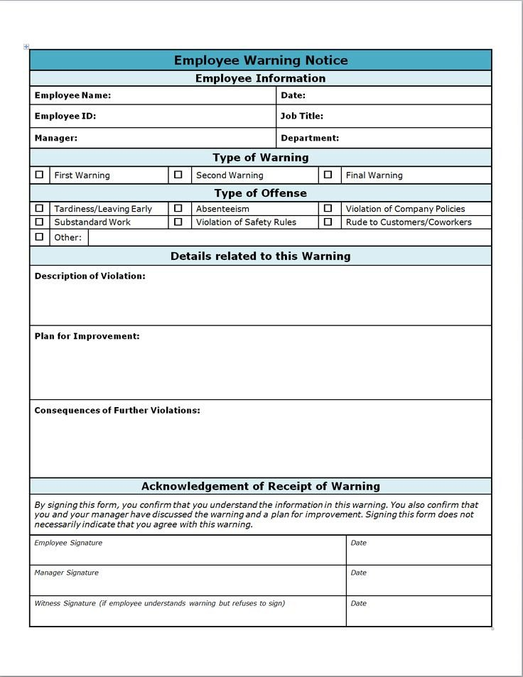 Employee Write Up Templates Employee Write Up form Projects to Try