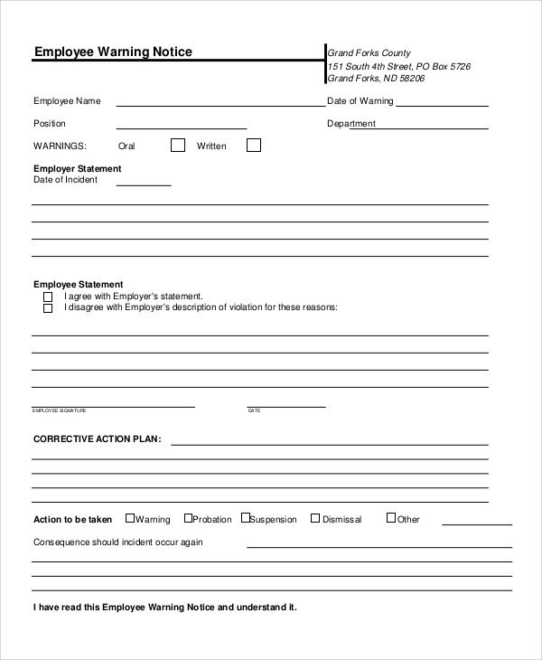 Employee Written Warning Template 10 Employee Warning Notice Samples Google Docs Ms Word
