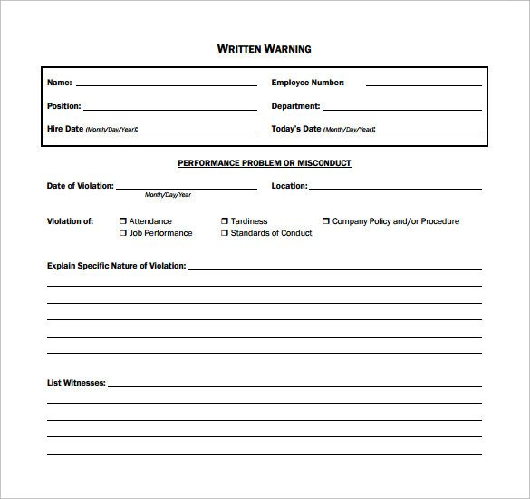 Employee Written Warning Template 11 Written Warning Templates Pdf