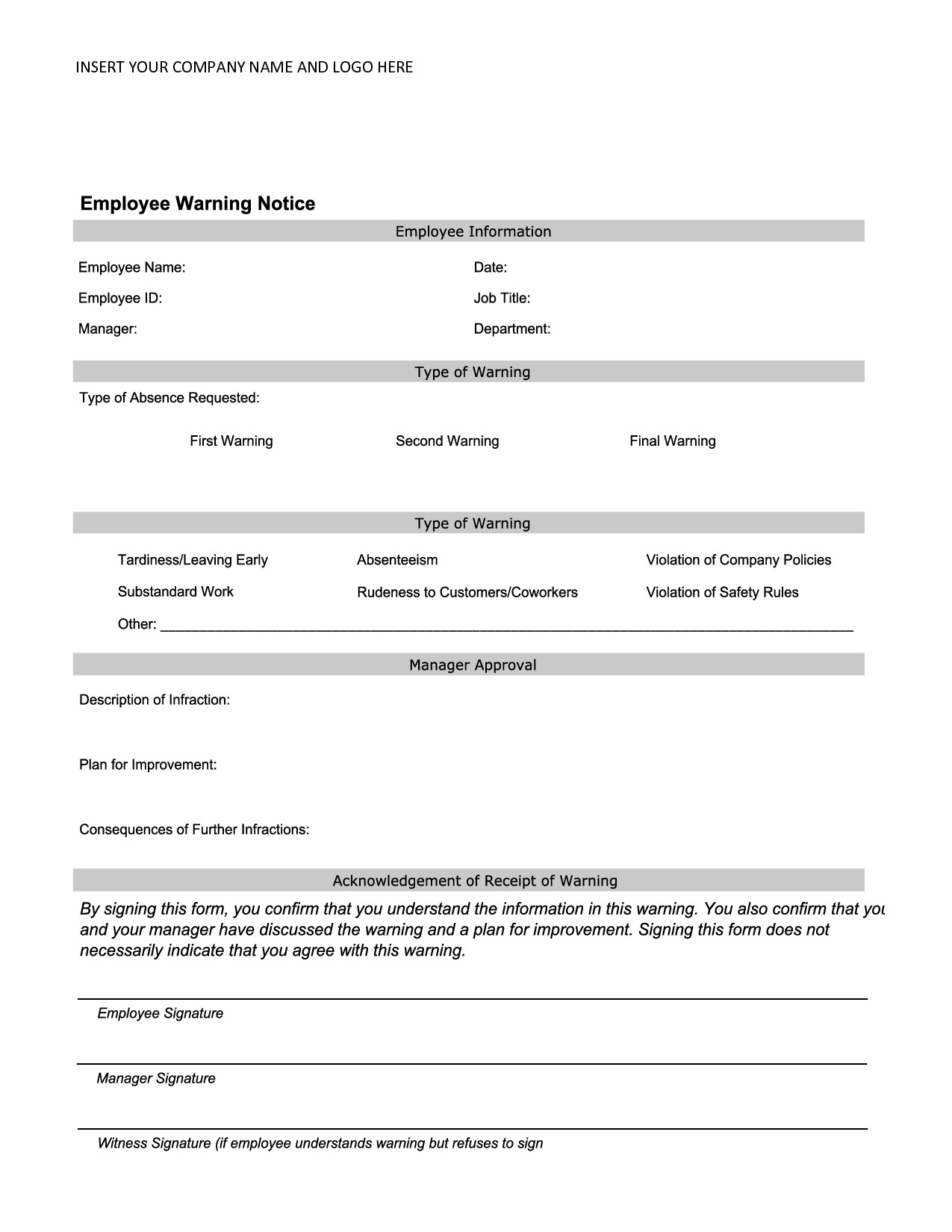 Employee Written Warning Template Employee Warning Notice Employee forms