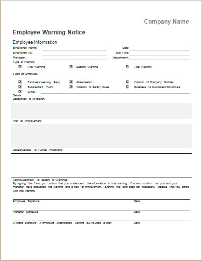 Employee Written Warning Template Employee Warning Notice Template for Ms Word