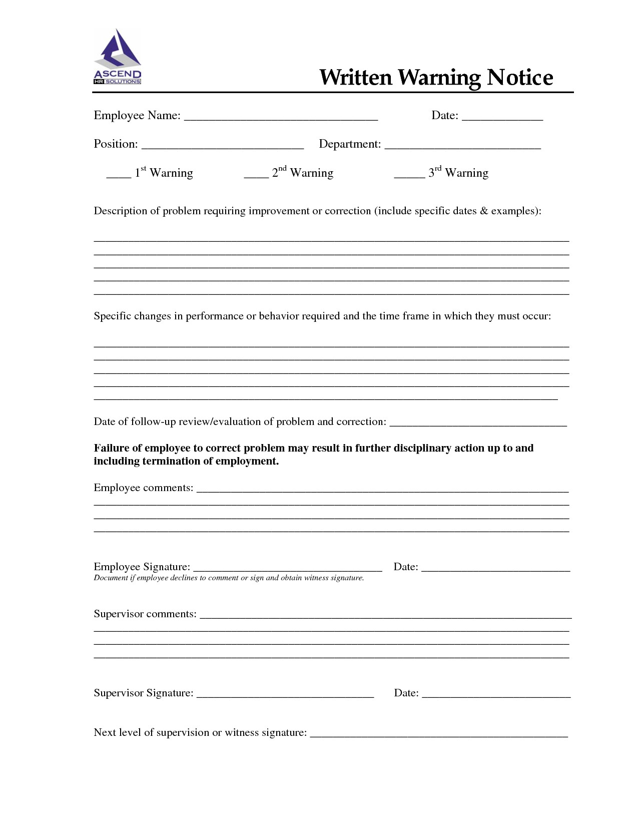 Employee Written Warning Template Written Warning Template