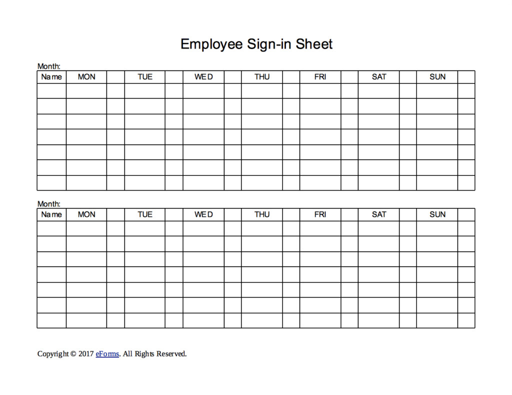 Employees Sign In Sheet Two Week Employee Sign In Sheet Template