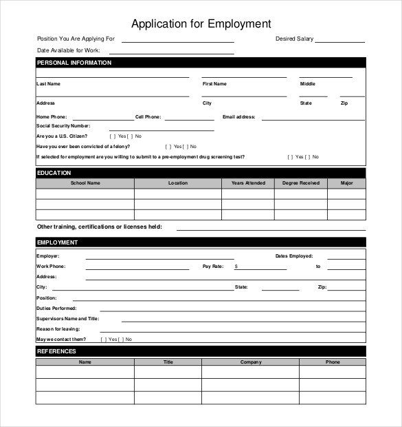 Employment Application form Template 10 Restaurant Application Templates – Free Sample