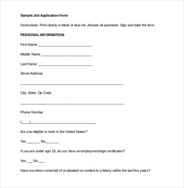 Employment Application Word Template Employment Application Templates – 10 Free Word Pdf