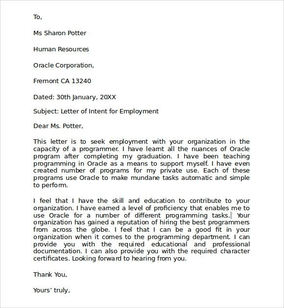 Employment Letter Of Intent 10 Letter Of Intent for Employment Samples Pdf Doc