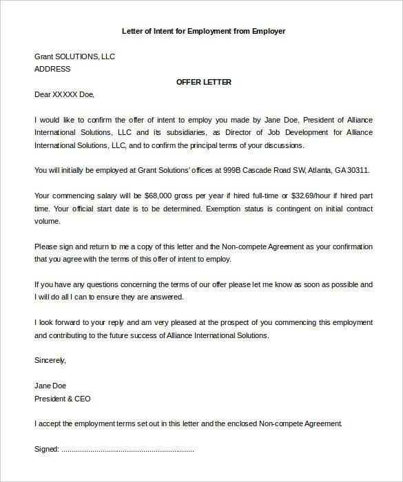 Employment Letter Of Intent 11 Sample Employment Letter Of Intent Templates Pdf