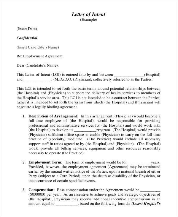 Employment Letter Of Intent 39 Letter Of Intent Templates Free Word Documents
