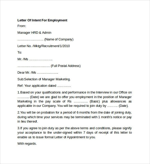 Employment Letter Of Intent 7 Letter Of Intent for Employment Templates to Download