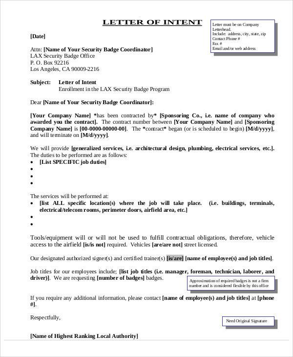 Employment Letter Of Intent Employment Letters