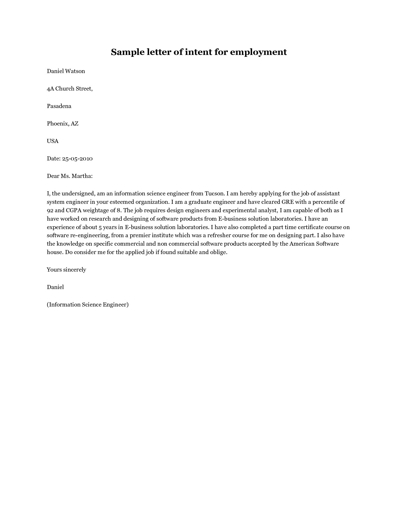 Employment Letter Of Intent How to Write A Letter Of Intent for A Job Application