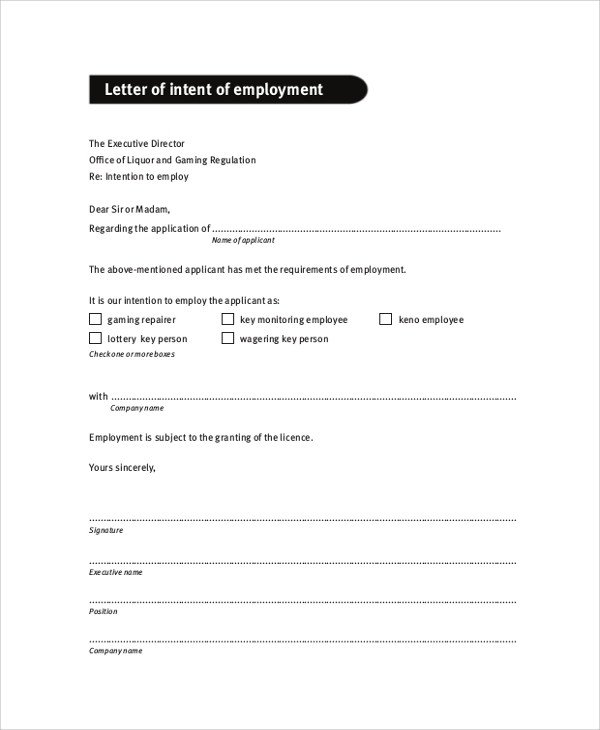 Employment Letter Of Intent Sample Letter Of Intent 47 Examples In Pdf Word