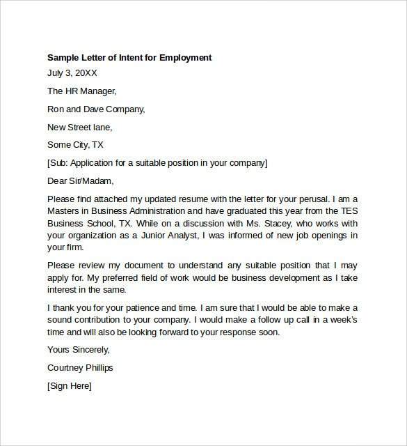 Employment Letter Of Intent Sample Letter Of Intent for Employment Templates 7