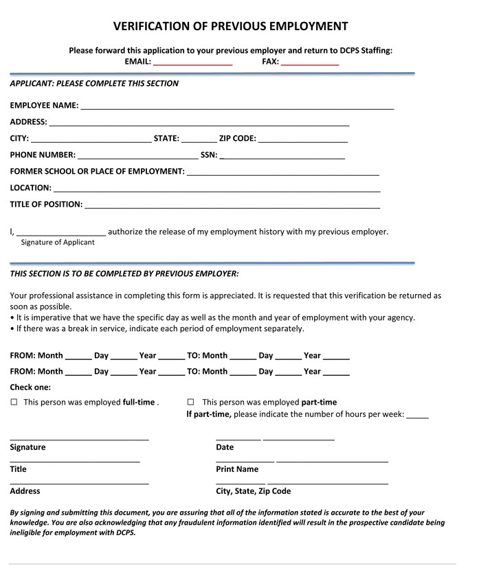 Employment Verification forms Template 5 Employment Verification form Templates to Hire Best Employee