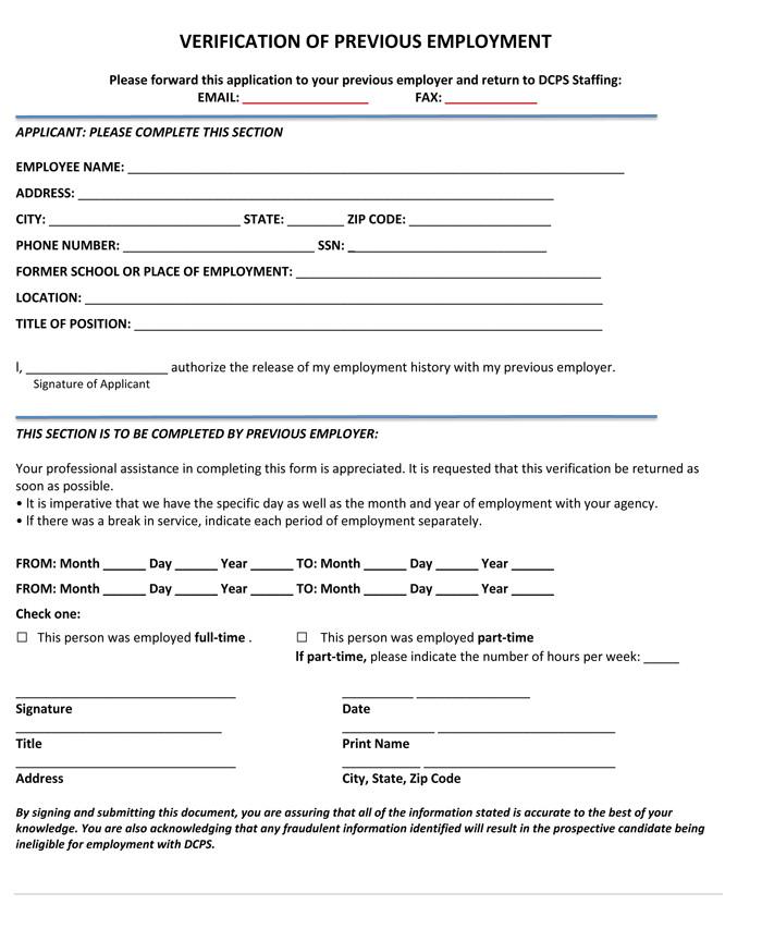 Employment Verification forms Template 5 Employment Verification form Templates to Hire Best Employee