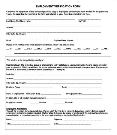 Employment Verification forms Template Employment Verification form 12 Free Word Pdf