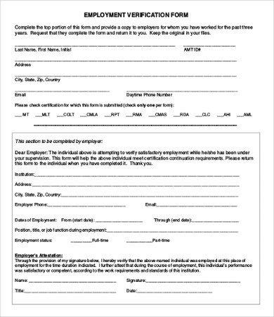 Employment Verification forms Template Employment Verification form 12 Free Word Pdf