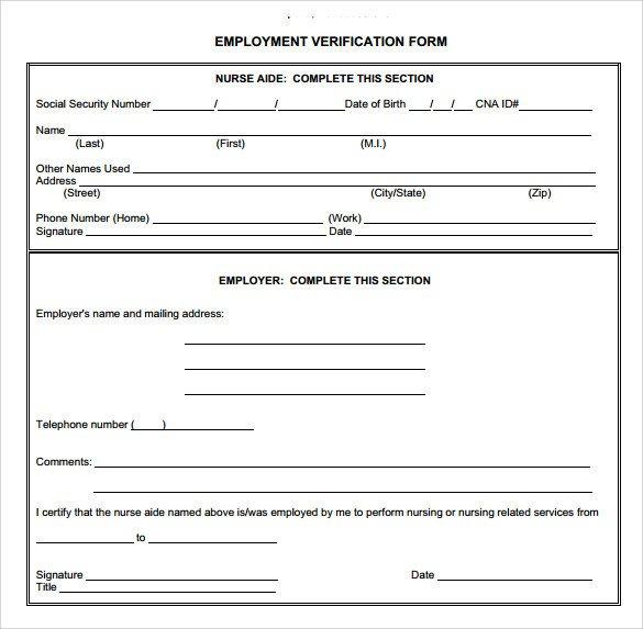 Employment Verification forms Template Employment Verification form 8 Download Documents In Pdf