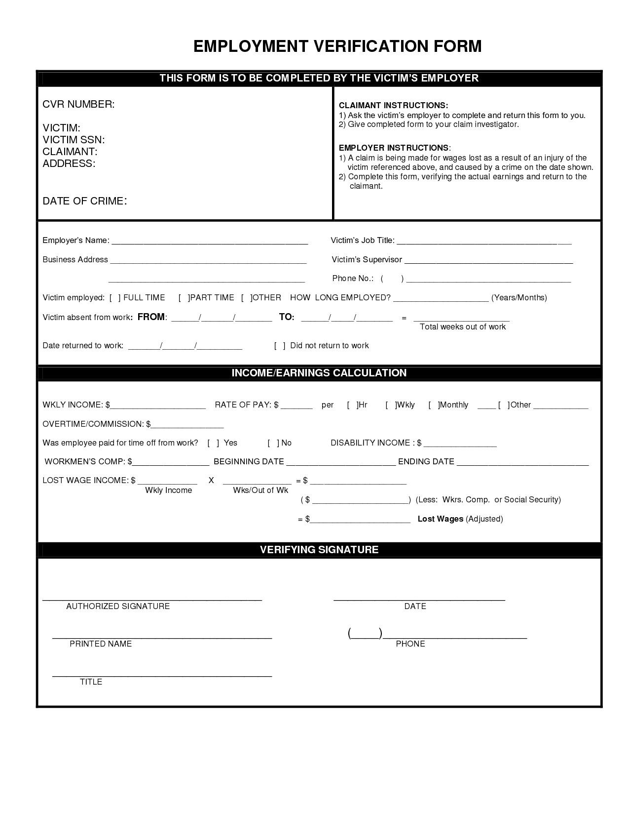 Employment Verification forms Template Employment Verification form