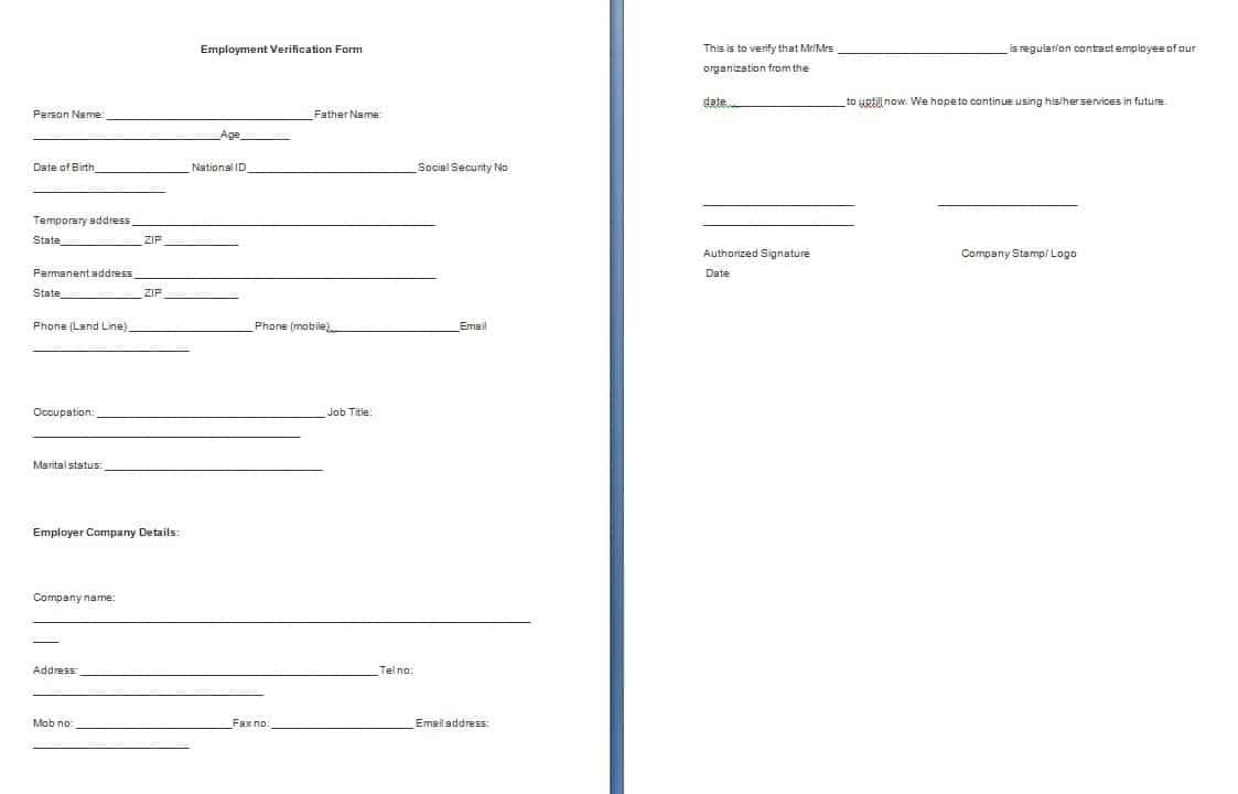 Employment Verification forms Template Employment Verification form Template Free formats Excel