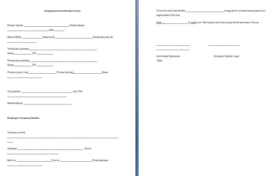 Employment Verification forms Template Employment Verification form Template Free formats Excel