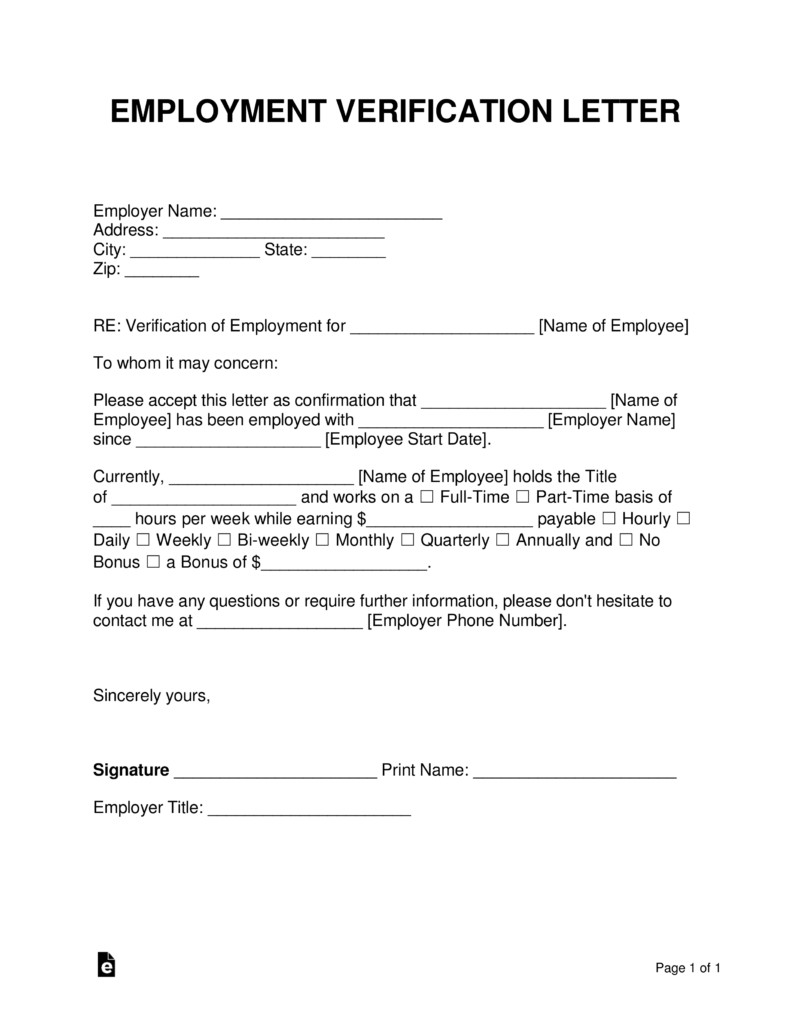 Employment Verification forms Template Free Employment In E Verification Letter Pdf