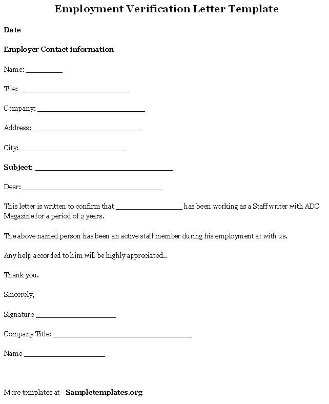 Employment Verification forms Template Free Printable Letter Employment Verification form