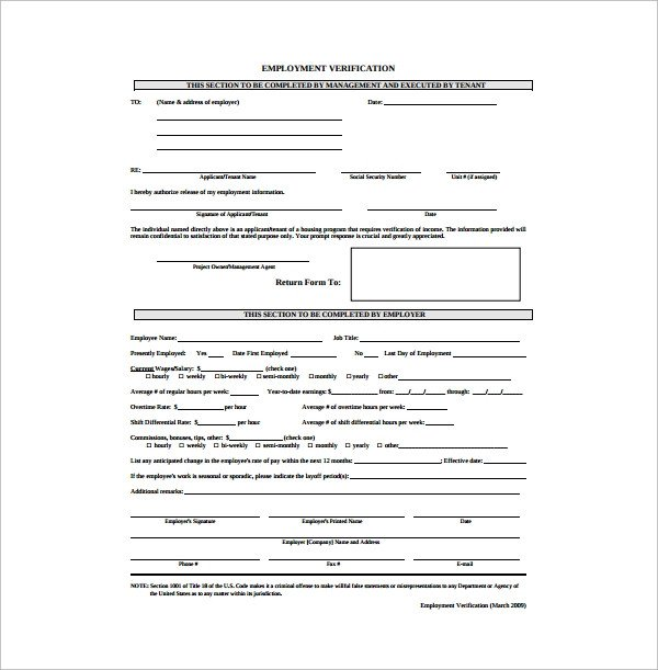 Employment Verification forms Template Sample Employment Authorization form 4 Free Documents