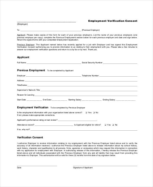 Employment Verification forms Template Sample Employment Verification form 6 Documents In Pdf