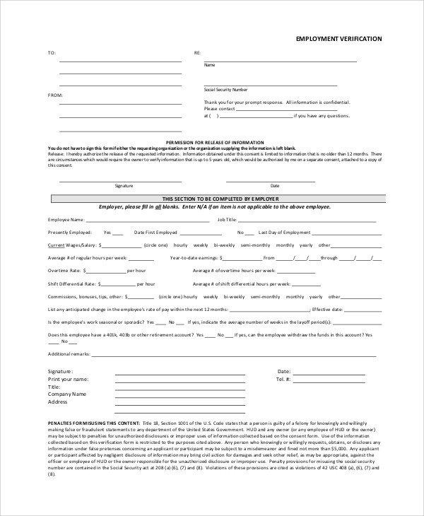 Employment Verification forms Template Sample Employment Verification form 6 Documents In Pdf