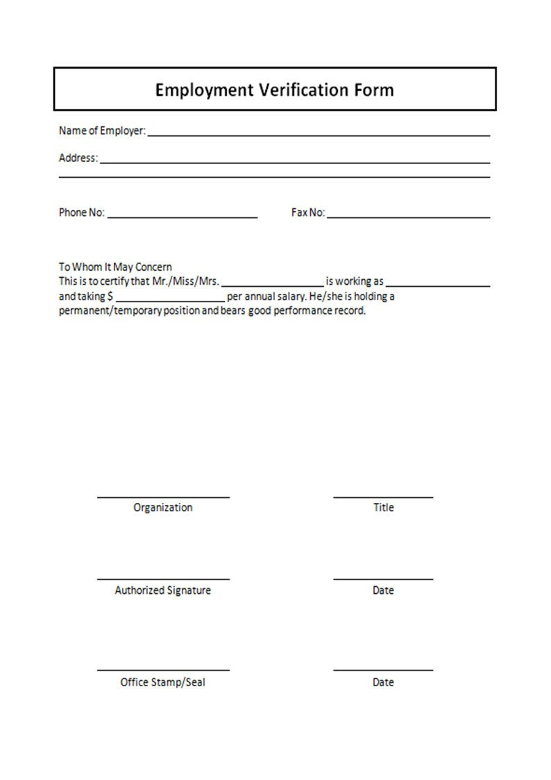 Employment Verification forms Template Sample forms Printable Free to and Easy to Use